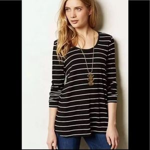 Anthropologie Bordeaux Womens Halcyon Top Striped